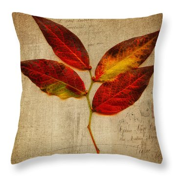 Autumn Leaf With Texture Throw Pillow