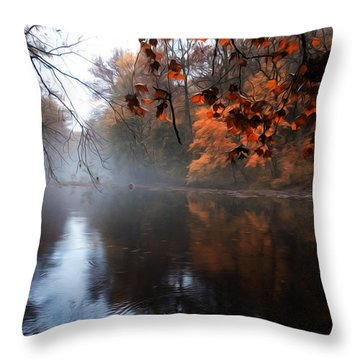 Autumn Morning By Wissahickon Creek Throw Pillow by Bill Cannon