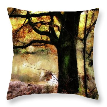 Autumn Oak Tree Throw Pillow