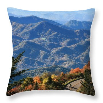 Autumn On The Blue Ridge Parkway Throw Pillow by Lynne Jenkins