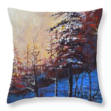 Throw Pillow featuring the painting Autumn Silence by Dan Whittemore