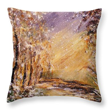 Autumn Snow Throw Pillow