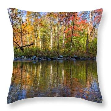 Autumn Stream Throw Pillow by Debra and Dave Vanderlaan