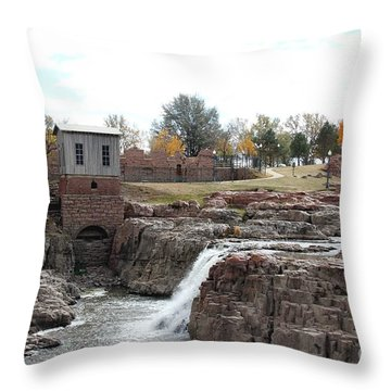 Throw Pillow featuring the photograph Autumn Water Falls by Yumi Johnson