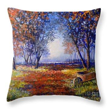 Throw Pillow featuring the painting Autumn Wheelbarrow by Lou Ann Bagnall