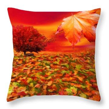 Autumnal Scene Throw Pillow by Lourry Legarde