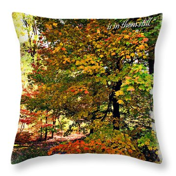 Autumn's Warmth Inspiration Quote Throw Pillow by Joan  Minchak