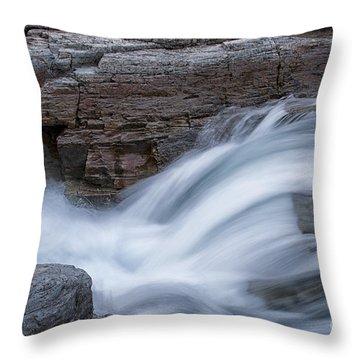 Avalanche Creek - Glacier National Park Throw Pillow by Sandra Bronstein