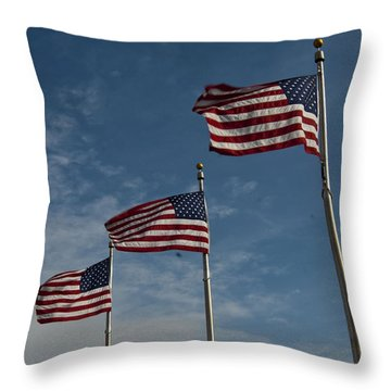 Throw Pillow featuring the photograph Avenue Of Flags by Darleen Stry