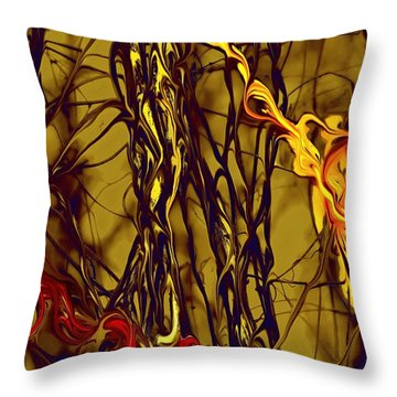 Throw Pillow featuring the digital art Shapes Of Fire by Leo Symon