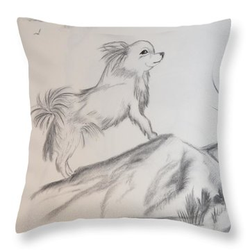 Throw Pillow featuring the drawing Aye Chihuahua by Maria Urso