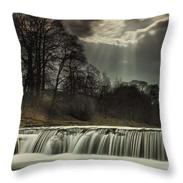 Aysgarth Falls Yorkshire England Throw Pillow by John Short