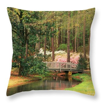 Azaleas And Footbridge Throw Pillow by Michael Hubrich and Photo Researchers