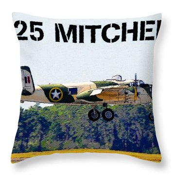 B 25 Mitchell Bomber Throw Pillow by David Lee Thompson