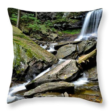 B Reynolds Falls Throw Pillow by Frozen in Time Fine Art Photography