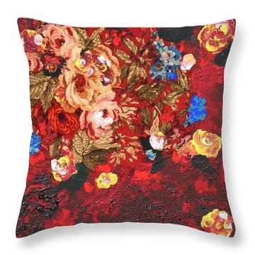 Throw Pillow featuring the painting Baba's Garden Lg by Alys Caviness-Gober