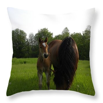Babe With Mom Throw Pillow