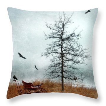 Baby Buggy By Tree With Nest And Birds Throw Pillow by Jill Battaglia