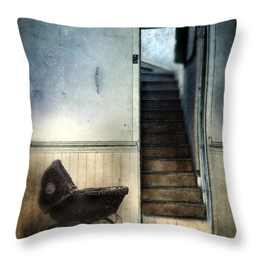 Baby Buggy In Abandoned House Throw Pillow by Jill Battaglia