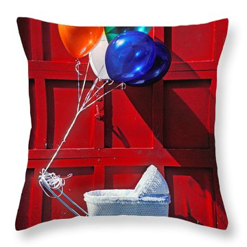 Baby Buggy With Balloons  Throw Pillow by Garry Gay