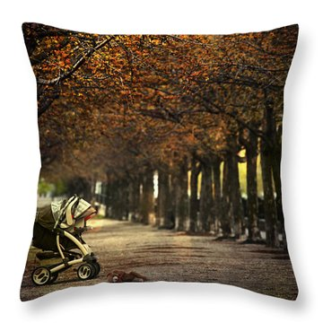 Baby Carriage With Toy Bear Alone On Street Throw Pillow by Sandra Cunningham