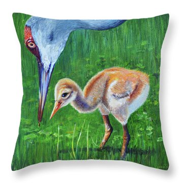 Throw Pillow featuring the painting Baby Crane's Lesson by AnnaJo Vahle