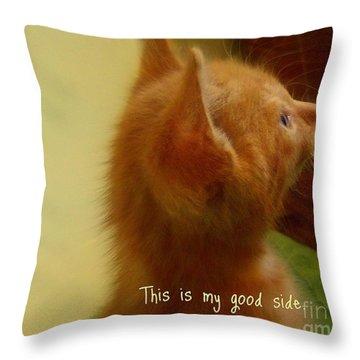 Baby Kitty Throw Pillow by Garnett  Jaeger