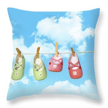Baby Shoesr And Teddy Bear On Clothline Throw Pillow by Sandra Cunningham