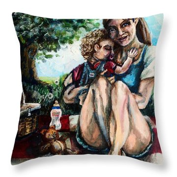 Baby's First Picnic Throw Pillow by Shana Rowe Jackson