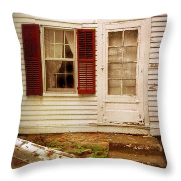 Back Door Of Old Farmhouse Throw Pillow by Jill Battaglia