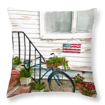 Throw Pillow featuring the painting Back Step by Nancy Patterson