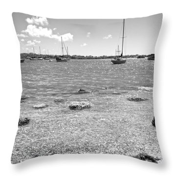 Background Sailboats Throw Pillow by Betsy Knapp