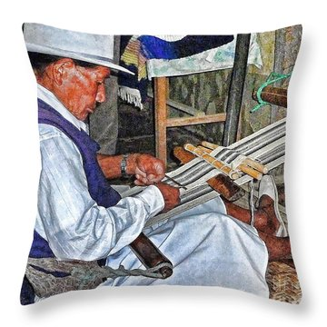 Backstrap Loom - Ecuador Throw Pillow by Julia Springer
