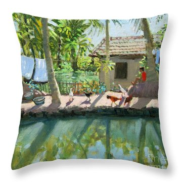 Backwaters India  Throw Pillow by Andrew Macara