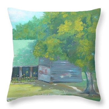 Throw Pillow featuring the painting Backyard by Carol Berning