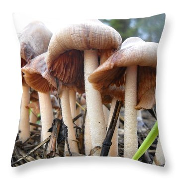 Bad Wigs Mushrooms Throw Pillow by Kent Lorentzen