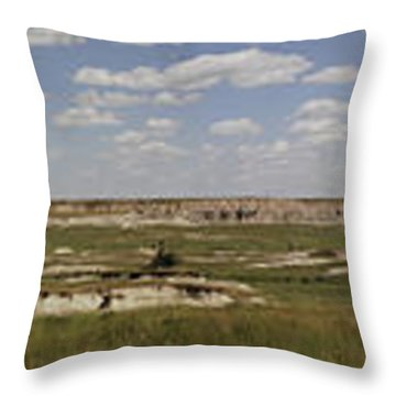 Throw Pillow featuring the photograph Badlands Panorama by Michael Flood
