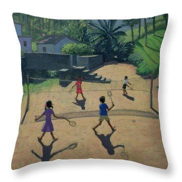 Badminton Throw Pillow by Andrew Macara