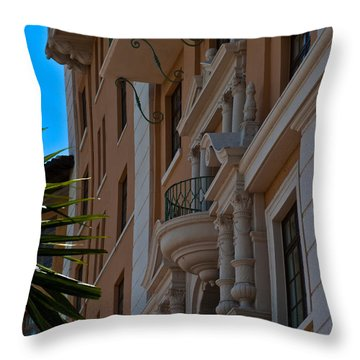 Throw Pillow featuring the photograph Balcony At The Biltmore Hotel by Ed Gleichman