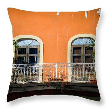 Balcony With Palms Throw Pillow by Perry Webster