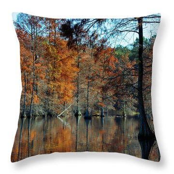 Bald Cypress In Autumn Throw Pillow