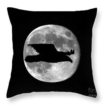 Bald Eagle Moon Throw Pillow by Al Powell Photography USA