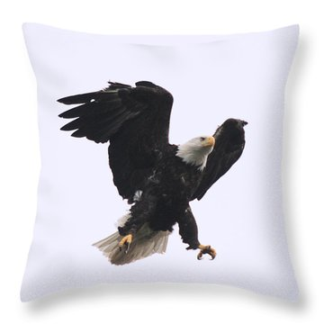 Throw Pillow featuring the photograph Bald Eagle Tallons Open by Kym Backland