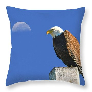 Bald Eagle With The Moon Throw Pillow