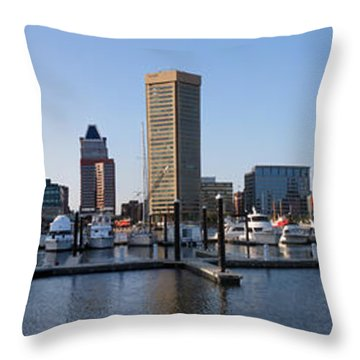 Throw Pillow featuring the photograph Balitmore Inner Harbor Panorama by Darleen Stry