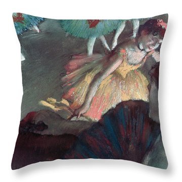 Ballerina And Lady With A Fan Throw Pillow by Edgar Degas