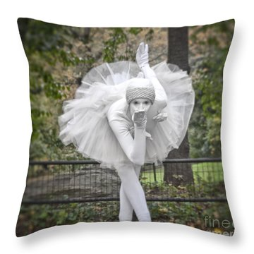 Ballerina In The Park Throw Pillow by Loriannah Hespe
