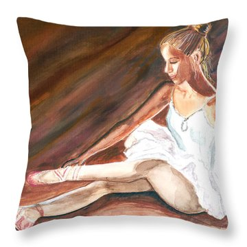 Throw Pillow featuring the painting Ballet Dancer by Clara Sue Beym
