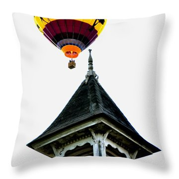 Throw Pillow featuring the photograph Balloon By The Steeple by Rick Frost