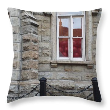 Balloons In The Window Throw Pillow by Anna Villarreal Garbis